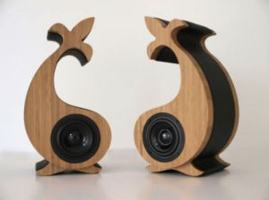 Music speakers made of bamboo.